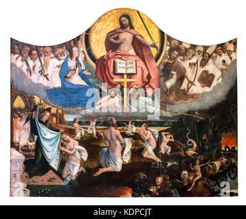 The Last Judgement (Laatste Oordeel)  by Jan Provoost (1462-1529), oil on panel, 1525 - Stock Photo