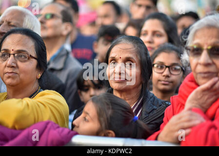 London, UK. 15th Oct, 2017. Visitors view stage performances at Diwali, the 'Festival of Lights', in Trafalgar Square. - Stock Photo