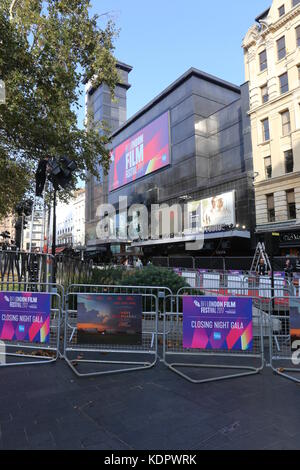 London, UK. 15th Oct, 2017. Preparations for the Closing Night Gala of the BFI London Film festival 2017 in Leicester - Stock Photo