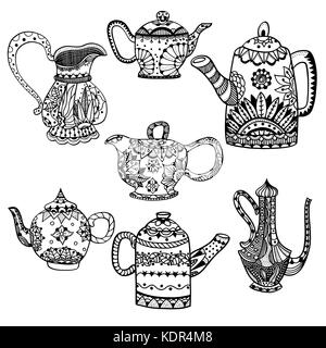 Set of Teapots and jugs isolated vector illustration. Hand drawn art made of flowers and Leaves. - Stock Photo