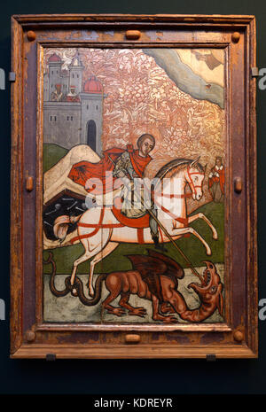 "Icon ""Saint George"", 18 century. Exhibition, the Kyiv History Museum. October 12, 2017. Kyiv, Ukraine. - Stock Photo"