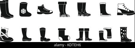 Boots icon set, simple style - Stock Photo