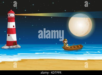 Scene with lighthouse at night time illustration - Stock Photo