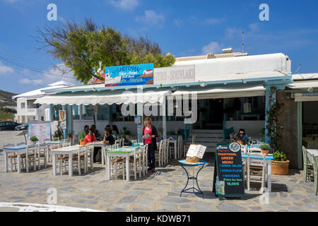 Fish restaurant at the village square of Ano Mera, Mykonos, Cyclades, Aegean, Greece, Europe - Stock Photo