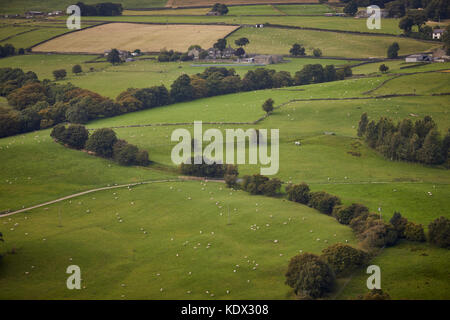 Pennines village, Haworth in West Yorkshire, England. Sheep in the countryside valley - Stock Photo