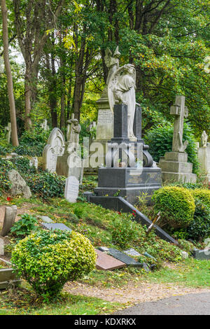 View over Highgate Cemetery East during autumn, North London, UK - Stock Photo
