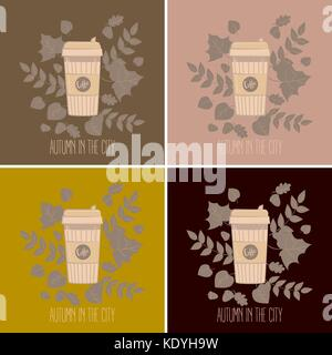 Set of paper recyclable coffee cups in colours. Mug vector illustration. Coffee cup in autumn leaves. Autumn in - Stock Photo