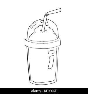 Hand drawing of Plastic Bottle for Coffee Cartoon, isolated on white background. Black and White simple line Vector - Stock Photo