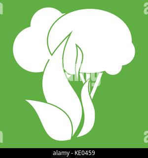 Burning forest trees icon green - Stock Photo