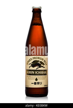 LONDON,UK - SEPTEMBER 24, 2017: Bottle of Kirin Ichiban lager Beer on white background - Stock Photo