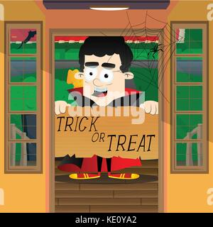Halloween greeting card. Kid dressed as vampire, standing in a door with a trick or treat banner. - Stock Photo