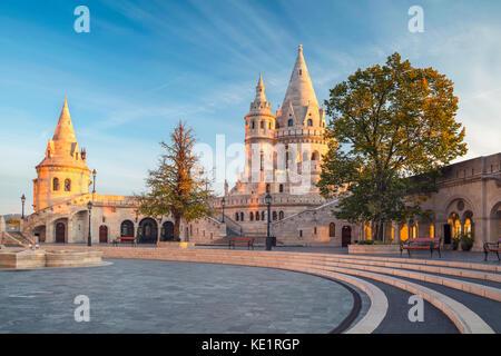 Fisherman's Bastion, Budapest. Image of the Fisherman's Bastion in Budapest, capital city of Hungary, during sunrise. - Stock Photo