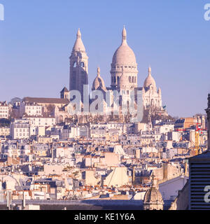 Sacre-Coeur Basilica in the morning, Paris, France - Stock Photo