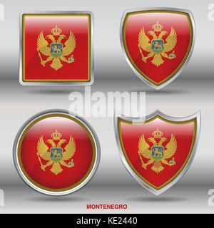Montenegro Flag - 4 shapes Flags States Country in the World with clipping path - Stock Photo