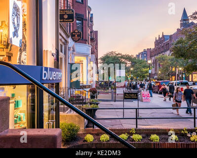 Newbury Street in Boston, MA, USA. - Stock Photo