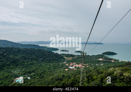 Cable car station on top of Mount Machinchang in Langakwi Malaysia with beautiful andaman sea in the background - Stock Photo