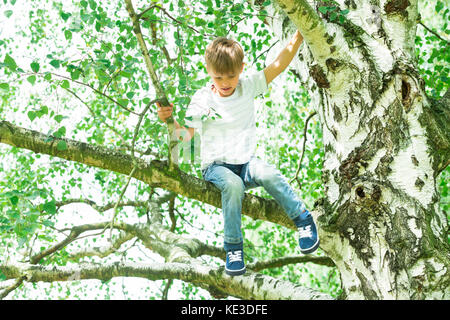 Cute Little Boy Sitting On The Branch Of A Tree - Stock Photo
