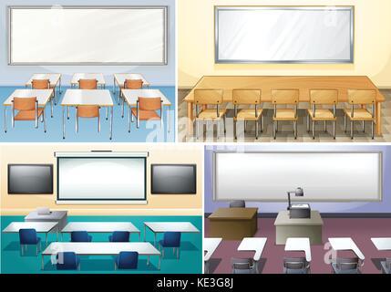 Four scenes of classroom illustration - Stock Photo