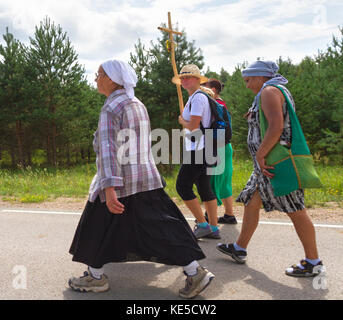 LATVIA, AUGUST 8: Pilgrims, who is on a journey to a holy place in Aglona on 8 August 2016, Latvia. - Stock Photo