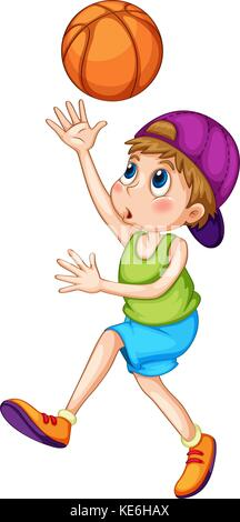 Little boy playing basketball illustration - Stock Photo