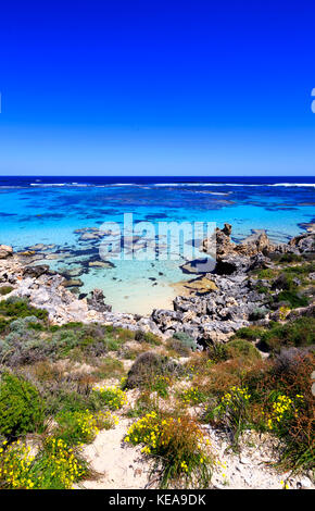Beautiful clear waters at Salmon Point on Rottnest Island. - Stock Photo