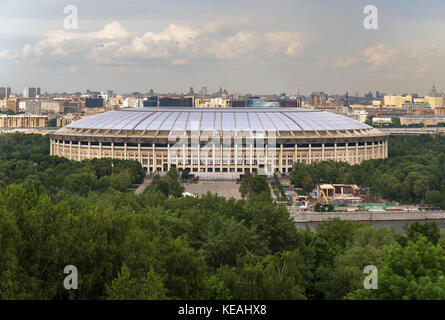 Luzhniki Stadium. View of Moscow from the observation platform on Sparrow Hills - Stock Photo