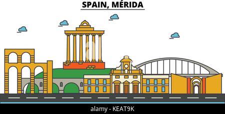 Spain, Merida. City skyline architecture, buildings, streets, silhouette, landscape, panorama, landmarks. Editable - Stock Photo