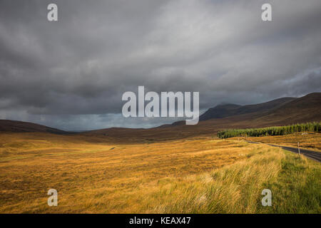 Meall an Fhuarain and Ben Klibreck mountains near Altnaharra in Sutherland, Scottish Highlands, UK - Stock Photo