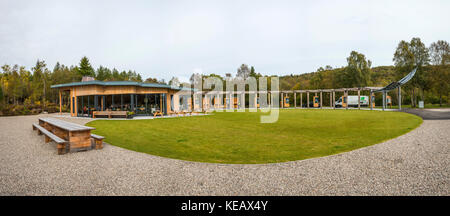 The Falls of Shin Visitor Centre near Lairg in Sutherland, Scottish Highlands, UK - Stock Photo