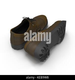 Hiking boots on the white. 3D Illustration - Stock Photo