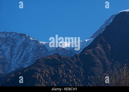 Glacier des Bossons from Les Houches, French Alps, France - Stock Photo