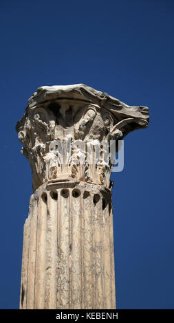 A corinthian-order column from the Library of Hadrian, Athens. The library was built in 132 AD by the Roman Emperor - Stock Photo