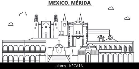 Mexico, Merida architecture line skyline illustration. Linear vector cityscape with famous landmarks, city sights, - Stock Photo