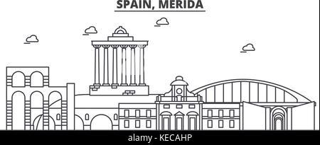 Spain, Merida architecture line skyline illustration. Linear vector cityscape with famous landmarks, city sights, - Stock Photo