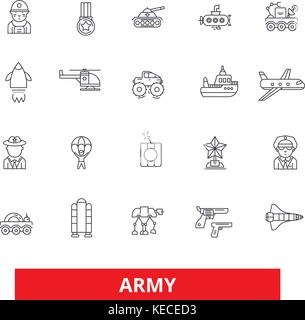 Army, military, soldier, navy, war, marine, camouflage, action, forces line icons. Editable strokes. Flat design - Stock Photo