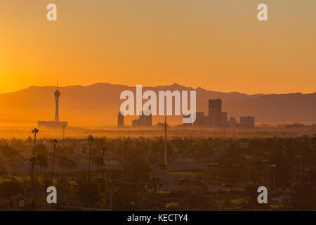 Las Vegas, Nevada, USA - October 10, 2017:  Hazy morning sunrise view of towers on the Las Vegas strip. - Stock Photo