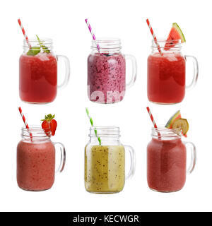 Collection of freshly prepared smoothies made from fruits and berries isolated on white background - Stock Photo