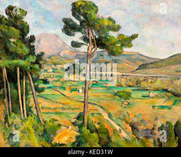 Mont Sainte-Victoire and the Viaduct of the Arc River Valley, Paul Cezanne, 1882-1885, Metropolitan Museum of Art, - Stock Photo
