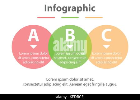 Three topics simple Colorful translucent circle in sequence timeline for presentation cover poster vector design - Stock Photo