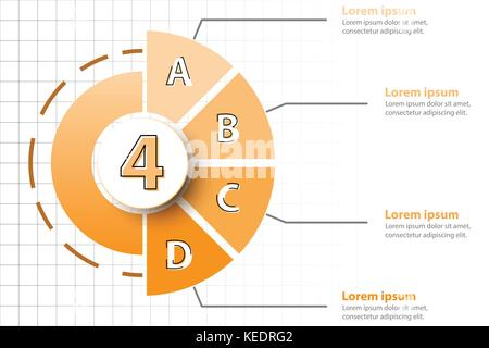 Four topics of Orange half pie chart with 3d paper circle in center for website presentation cover poster vector - Stock Photo