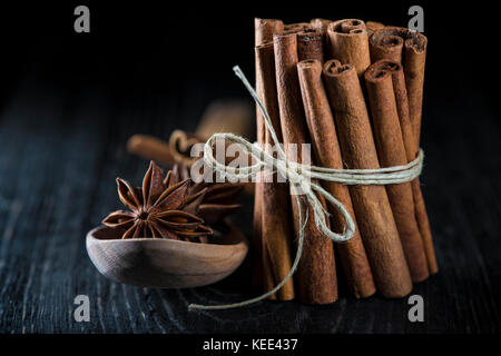 Cinnamon sticks and star anise on a dark background - Stock Photo