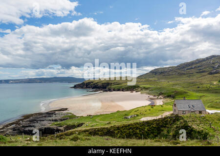 House on the beach at Sangobeg, near Durness, Sutherland, Scottish Highlands, Scotland, UK - Stock Photo