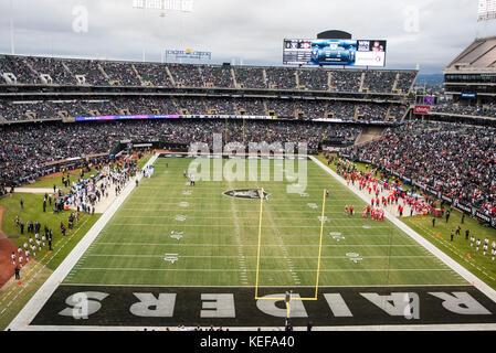 Oct 19 2017 - Oakland CA, U.S.A Oakland Raiders stadium during the NFL football game between Kansas City Chiefs - Stock Photo