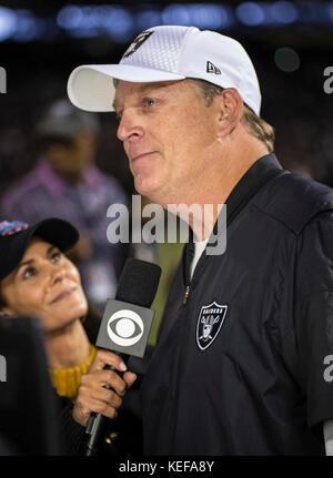 Oct 19 2017 - Oakland CA, U.S.A Oakland Raiders head coach Jack Del Rio after the NFL football game between Kansas - Stock Photo