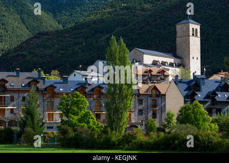 New development in town of Biescas in Valle de Tena, Aragon, Northern Spain. Many Spanish construction projects - Stock Photo