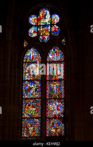 Stained glass window in Cathedral de Santa Maria de Leon in Leon, Castilla y Leon, Spain - Stock Photo