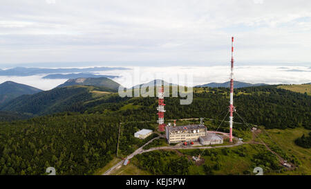 Aerial view of broadcasting tower Krizava on top of Martinske Hole hills, Slovakia - Stock Photo