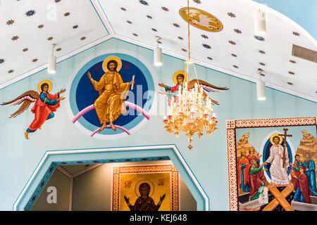 Silver Spring, USA - September 16, 2017: Inside interior St. Andrew Ukrainian orthodox cathedral near Washington - Stock Photo