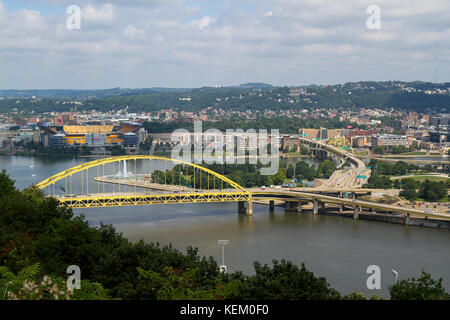 Fort Pitt Bridge, Pittsburgh, Pennsylvania, United States - Stock Photo