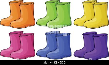 Illustration of a group of colorful boots on a white background - Stock Photo